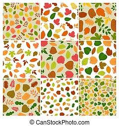 automne, arrière-plans, neuf, seamless, ensemble, feuilles