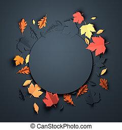 automne, art, papier, -, fond