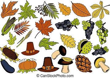 automne, articles, vecteur, thanksgiving