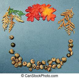 automne, automne, cadre, glands, feuilles
