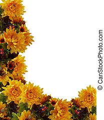 automne, automne, floral, fond, frontière
