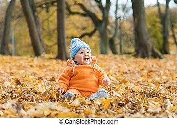 automne, bébé bébé, parc, jouer