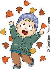 automne, bébé, feuilles