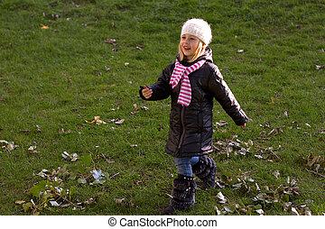 automne, bébé, marche, girl