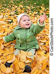 automne, bébé, parc