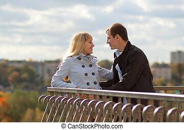 automne, baisers, couple, parc, romantique
