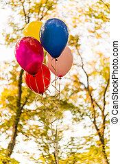 automne, ballons, parc, coloré