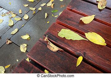 automne, banc bois, feuilles