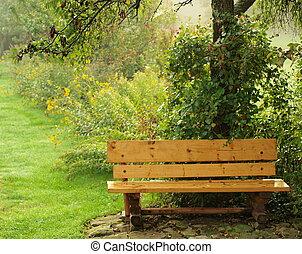 automne, banc jardin