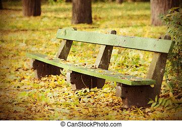 automne, banc, parc, bois