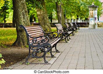 automne, bancs parc