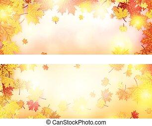 automne, bannière, leaves., érable
