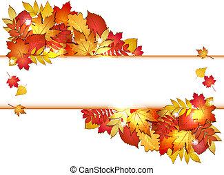 automne, bannière, leaves.