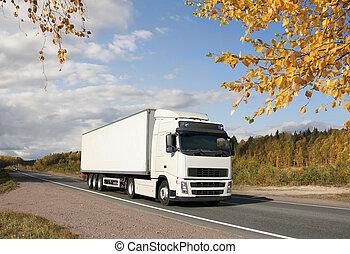 automne, blanc, camion, autoroute