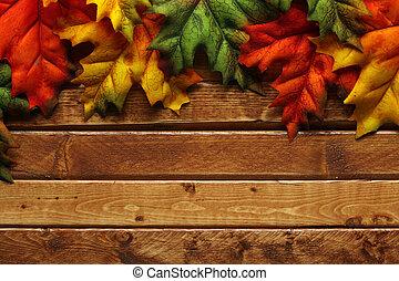 automne, bois, feuilles, fond