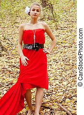 automne, bois, jolie fille, robe, rouges