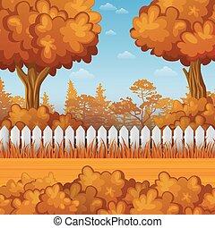 automne, bois, paysage, barrière
