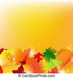automne, bokeh, pousse feuilles