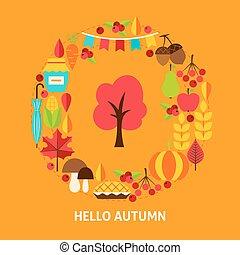 automne, bonjour, carte, salutation