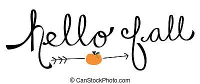 automne, bonjour, citrouille