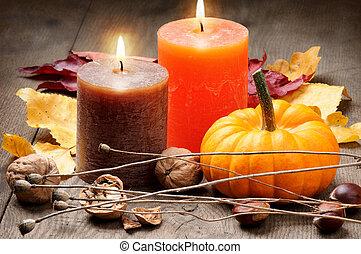 automne, bougies, monture, citrouille