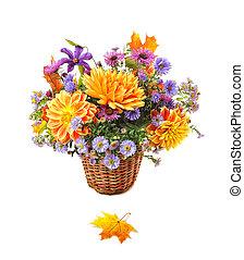 automne, bouquet, fleurs