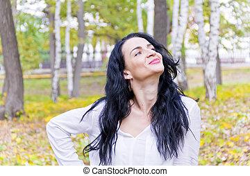 automne, brunette, parc