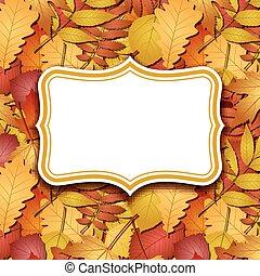 automne, cadre, étiquettes, leaves., fond
