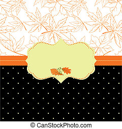 automne, cadre, carte voeux, orné
