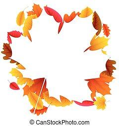 automne, cadre, feuille