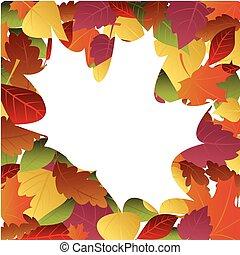 automne, cadre, feuilles