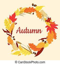 automne, cadre, spikelets, viburnum, glands