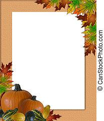 automne, cadre, thanksgiving, automne
