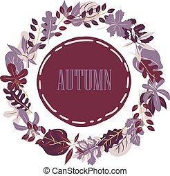automne, cadre, vecteur, leaves.