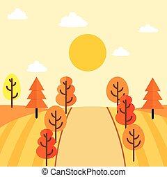 automne, campagne, conception, paysage