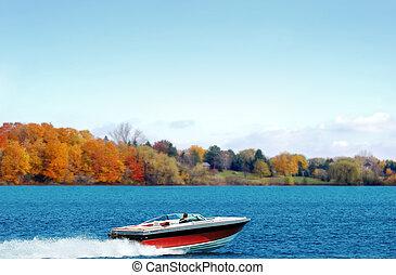 automne, canotage, lac, puissance