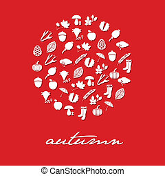 automne, cercle, icônes