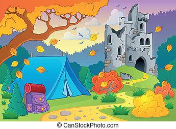 automne, château, 3, ruines, thème