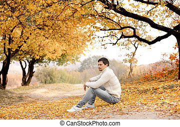 automne, chandail, tricoté, blanc, homme, jour, beau