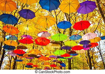 automne, ciel, parapluies