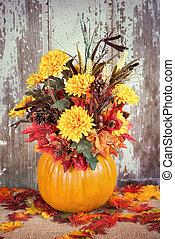 automne, citrouille, arrangement fleur