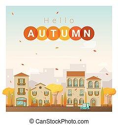 automne, cityscape, 2, bonjour, fond