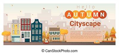 automne, cityscape, 3, bonjour, fond