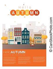 automne, cityscape, 5, bonjour, fond