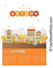 automne, cityscape, bonjour, fond, 6
