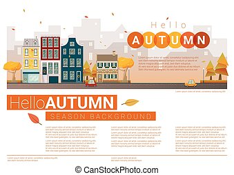 automne, cityscape, bonjour, fond, 7