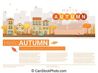 automne, cityscape, bonjour, fond, 8