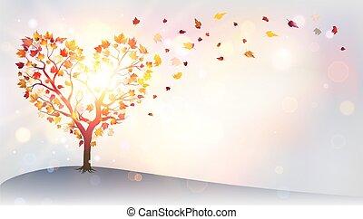 automne, coeur, -, amour, arbre
