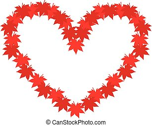 automne, coeur, feuilles