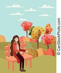 automne, complet, parc, marche femme